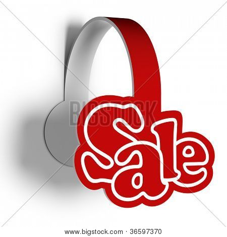 A 3d illustration of sticker for sellout various products. Sale wobbler.