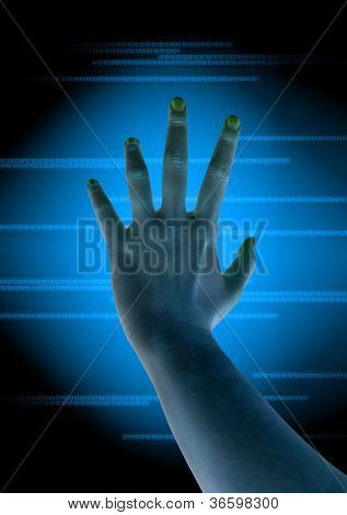 scanning of finger on a touch screen interface