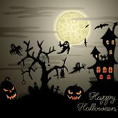 Happy Halloween greeting card with ghosts, graves, bats, pumpkins, etc.