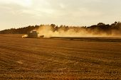 harvester on wheat field inducing dust clouds