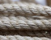Macro of loose wound hemp rope macro. SHallow depth of field.