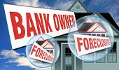 pic of eviction  - Bank owned foreclosure sign in front of houses - JPG