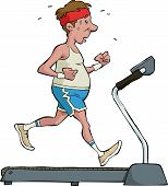 image of stereotype  - A man on a treadmill vector illustration - JPG