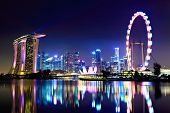 stock photo of singapore night  - Singapore city skyline at night - JPG