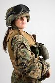 stock photo of army soldier  - Shot of a beautiful army girl - JPG