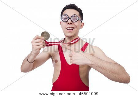 Funny wrestler with winners medal