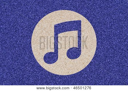 Icon Of Musical Note Made Of Colored Decorative Sand.