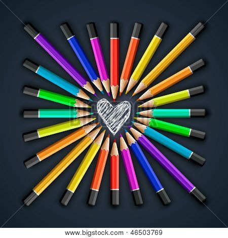 Colored pencils, heart shape