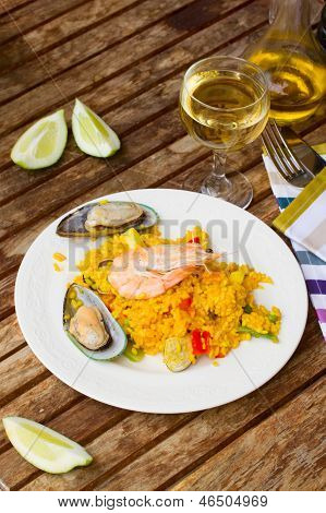 Dining with seafood paella