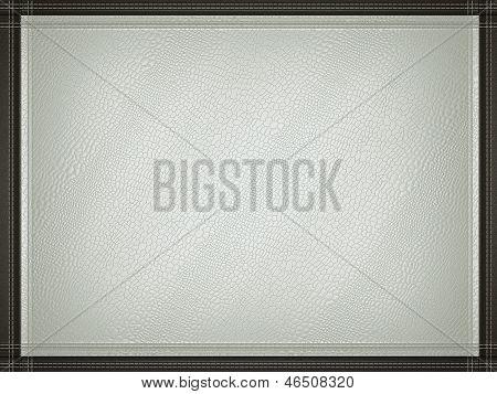 Gray Mock Croc Or Alligator Skin Background With Stitched Frame