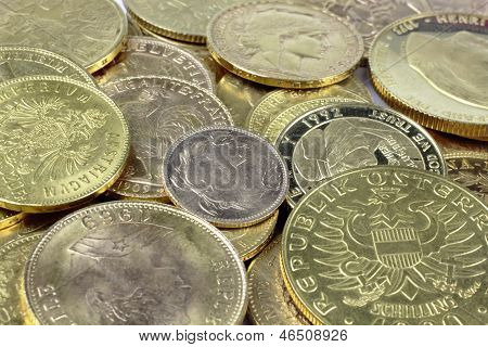 Close up of gold coins gold coins background