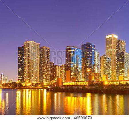 City of Chicago USA colorful sunset panorama skyline of downtown