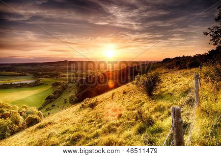 Hill Fence Sunset