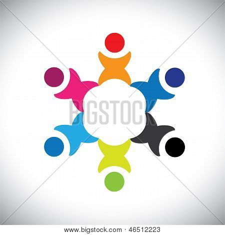 Concept Vector Graphic- Abstract Colorful Happy Kids Playing Icon(sign)