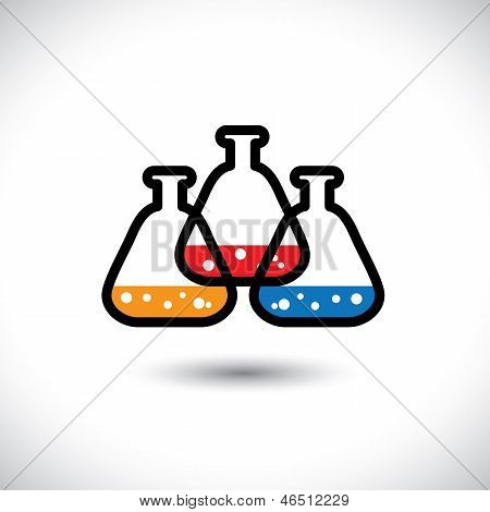 Concept Vector Graphic- Abstract Colorful Medical Lab Beaker Icon(sign)