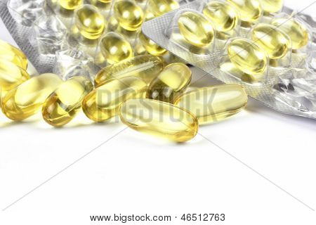 fish oil on the white backgrond Omega b
