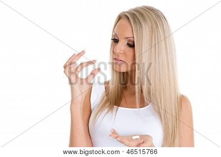 Young Woman With Pills.