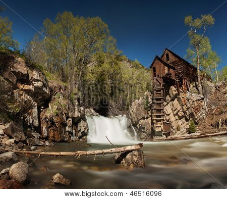 Crystal River and the Lost Horse Mill, or Crystal Mill, in Colorado which used to supply power to the nearby silver mines via a waterwheel driving an air compressor, part of the Crystal Ghost Town