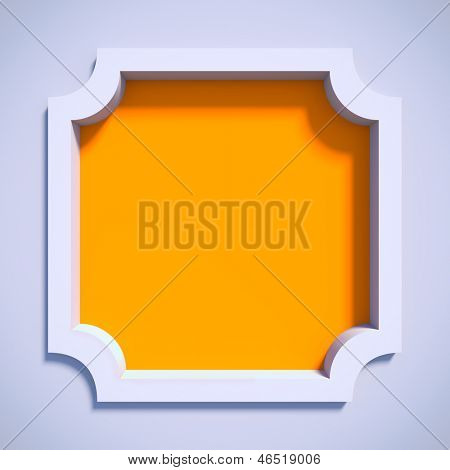 White empty frame. A 3d illustration blank template layout of white 3d border with yellow filling.