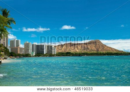 Waikiki Beach With Azure Water In Hawaii With Diamond Head In Background.