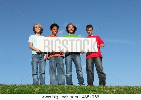 Diversity, Group Of Diverse Kids With Sign