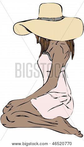 Vector aislada de mujer sentada de rodillas gran sombrero para el sol