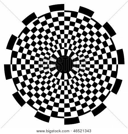 Checkerboard Spiral Design Pattern, Black And White
