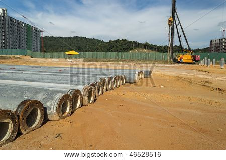 Stock Pile At  Construction Site