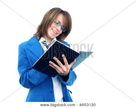 Business Girl Writing