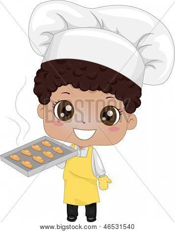 Illustration of a Cute Little Boy Baking Bread
