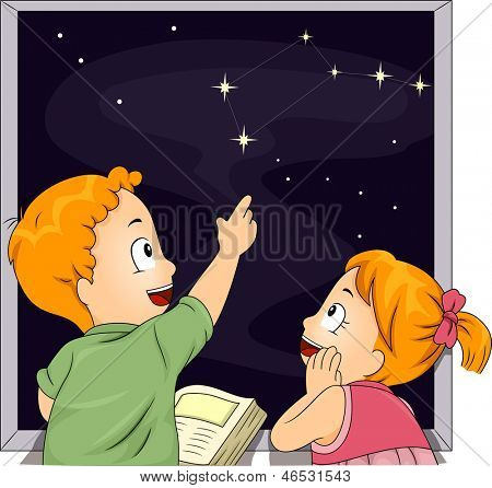 Illustration of Male and Female Kid Siblings Studying Constellations