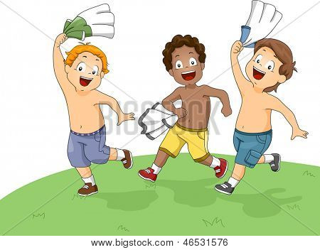 Illustration of Little Boys Running and Playing on the Field