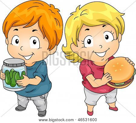 Illustration of Little Male Kid Carrying a Jar of Pickles and a Little Female Kid holding a Hamburger