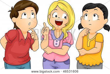Ilustración de los niños masculinos y femeninos pensando