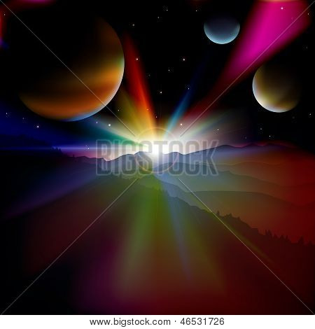 Abstract Background With Sunrise And Stars Sky