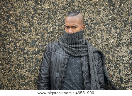 African American Fashion Model With Scarf Covering Face