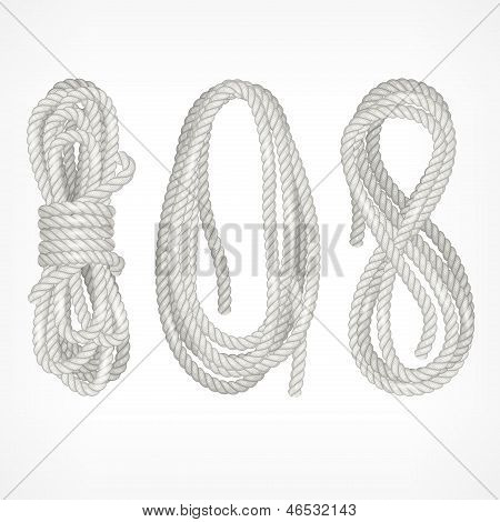 Coils Of Rope On White