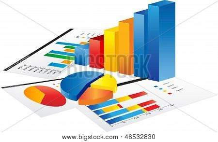 Graph and a paper with statistic charts