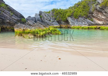 Tropical waters along a Bermuda south shore beach.