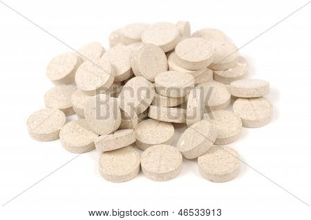 Brewer's Yeast Tablets Isolated On White Background
