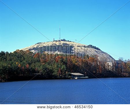 Stone mountain and lake, Atlanta, USA.