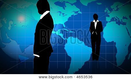 Man And Woman Showing  Teamwork In Business Concept