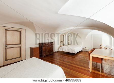 beautiful interior of hotel, apartment with two bed