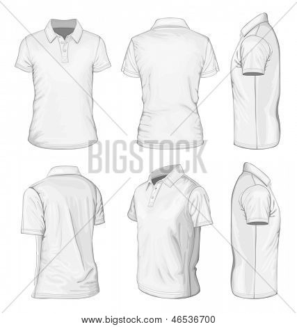 All views men's white short sleeve polo-shirt design templates (front, back, half-turned and side views). Vector illustration. No mesh.