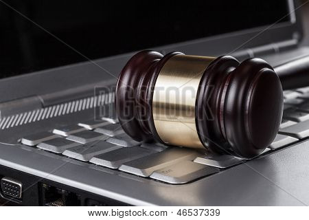 judge gavel on computer concept
