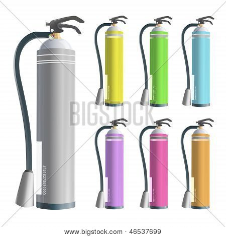 Collection Of Extinguisher Isolated On White. Vector Design.