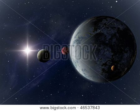 An image of a strange planet constellation in space