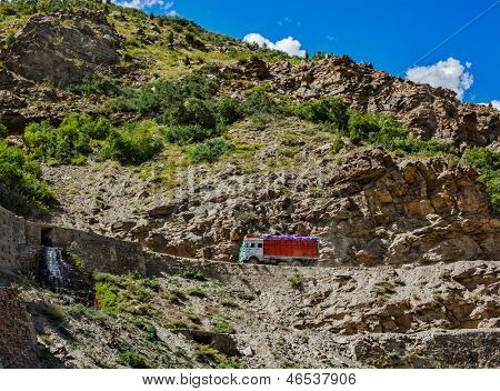 Manali-Leh road in Indian Himalayas with lorry. Himachal Pradesh, India