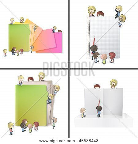 Set Of Images With Many Children Around Folder, Book And Notebook. Vector Design.