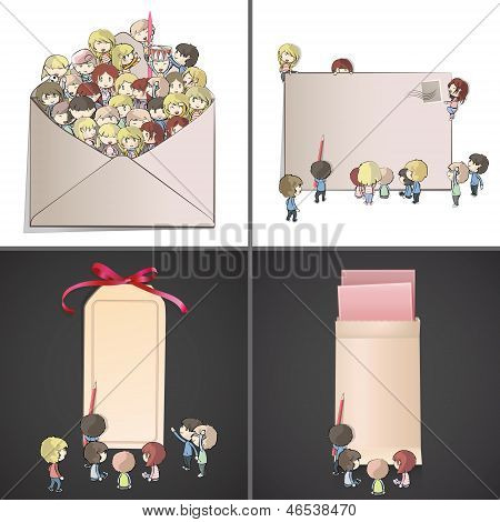 Set Of Images With Many Children Around Envelope And Cards. Vector Design.